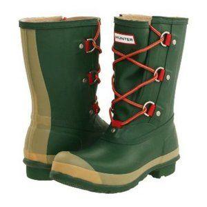 HUNTER Sascha Rubber Rain Boots Green Tan